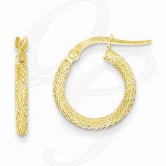 14kt White Gold Satin /& D//C Princess Square Tube Hoop Earrings