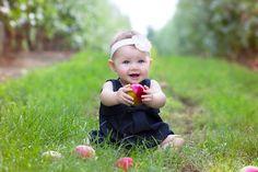 Apple picking baby girl