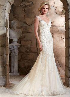 Elegant Tulle V-neck Neckline Mermaid Wedding Dress With Beaded Embroidery