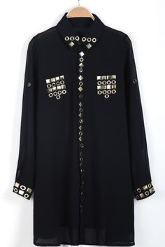 Black Lapel Long Sleeve Sequined Chiffon Blouse - Sheinside.com