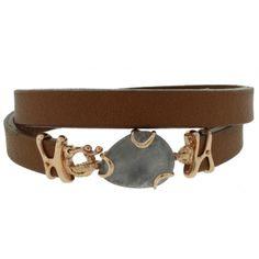 Grey Iolite Leather Bracelet