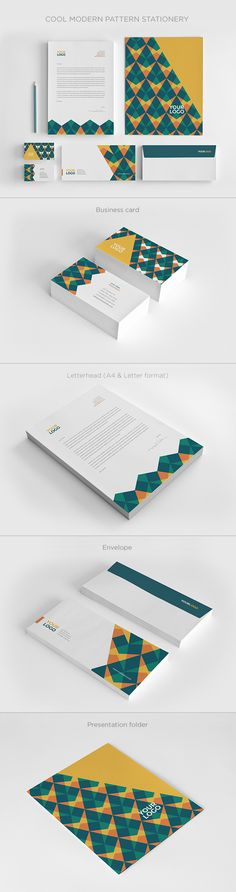 Cool Modern Pattern Stationery. Download here: http://graphicriver.net/item/cool-modern-pattern-stationery/13735489?ref=abradesign