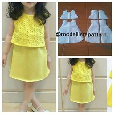 Basic kids dress pattern 😍 Order by line Girls Frock Design, Kids Frocks Design, Baby Frocks Designs, Baby Dress Design, Baby Girl Frocks, Frocks For Girls, Dresses Kids Girl, Kids Outfits, Kids Dress Wear
