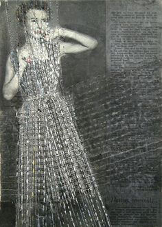 hinke schreuders uses embroidery, beading, lace and ink to embellish vintage fashion photography and illustrations from the1950s.