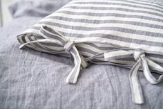 Striped Linen Grey Pillowcase With Ties, Linen Cushion Cover, Linen Pillow Cover, Linen Pillowcase, Linen Shams Linen Pillow Linen Bedding Linen Pillows, Linen Bedding, Bedding Sets, Housewarming Present, Love Natural, Turquoise Glass, Nautical Fashion, Love To Shop, Striped Linen