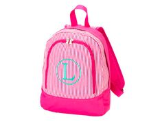 Put a little prep in your step with this adorable pink backpack.  There is also a matching lunch bag. All monograms are 6.95 with your purchase. Simply place your initials or name in the comment box at checkout.