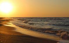 Sunset, ocean, coast, beach, sand, evening, sun, waves