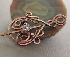 Shawl pin or scarf pin in sculptured swirly drop by IngoDesign, $34.00