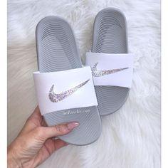 3ccb9f2aec6626 Nike Kawa Slides White Flip Flops Customized With Swarovski Crystals ( 65)  ❤ liked on