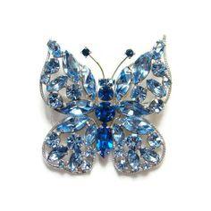 Vintage Sapphire Blue Rhinestone Figural Butterfly Pin Brooch Silvertone Setting by redroselady on Etsy