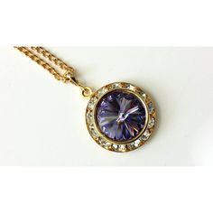 Tanzanite Crystal Necklace Purple Rhinestone Necklace Purple and Gold... ($21) via Polyvore featuring jewelry, necklaces, gold jewelry, gold rhinestone necklace, purple crystal necklace, yellow gold necklace and art deco necklaces