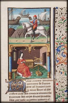 Woman winding yarn, from Augustine, La Cité de Dieu, Book IX, illustrated by Maitre Francois, c. 1475-1480