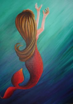 Unfinished mermaid piece...by Cynthia Dawn. I'm not sure when I'll get back to this painting, to finish it. I have so many things I am currently working on.