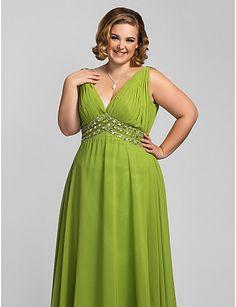 Plus Size A-line V-neck Floor-length Chiffon Evening/Prom Dress