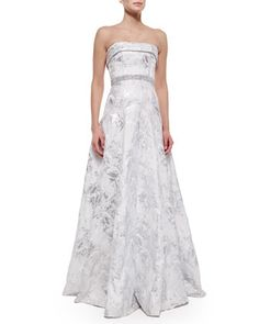 Strapless+Embellished-Waist+Ball+Gown+by+Carmen+Marc+Valvo+at+Bergdorf+Goodman.