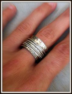 HAMSA Ring  Sterling silver  wide spinner ring by DITIYANO on Etsy, $89.00