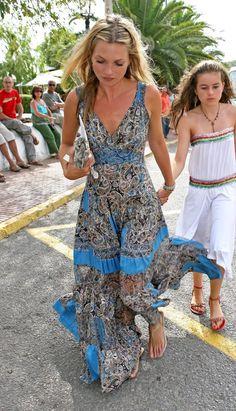 kate moss long dress boho travel vacation