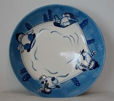 Collectibles Canterbury Potteries Hidden Valley Hand Painted Snowman Bowl ~ Mint