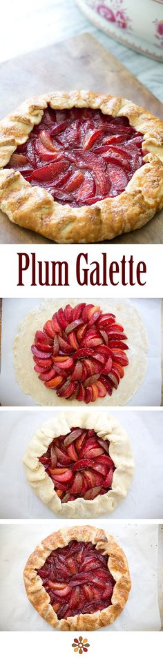 Bright and delicious Plum Galette! A rustic plum tart with plums and pluots. So much easier to make than a pie, and just as good! #dessert On SimplyRecipes.com