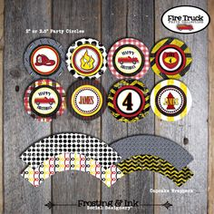 Fire Truck Birthday Party  Party Circles  by frostingandink, $10.00