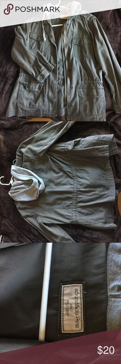 Army Green Utility Jacket Army green utility Jacket with gray hood from PacSun PacSun Jackets & Coats Utility Jackets
