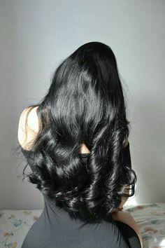 Black Hair Curls, Dark Red Hair, Long Dark Hair, Beautiful Long Hair, Gorgeous Hair, Curly Hair Styles, Natural Hair Styles, Long Hair Tips, Asian Hair