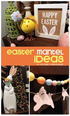 Easter Mantel Decor Ideas @eyecandycreate #easter #eastermantel #easterdecor