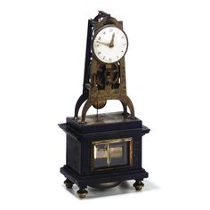 A RARE FRENCH LOUIS XVI BRASS AND EBONIZED SKELETON MANTEL CLOCK, CROIZIER A PARIS, DATED 1790