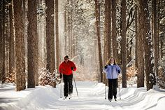 Cross-country skiers at Crystal Mountain | Great Ski Resort Spas | Organic Spa Magazine