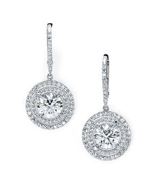 Round, brilliant, diamond drop earrings add sparkle to your summer style.