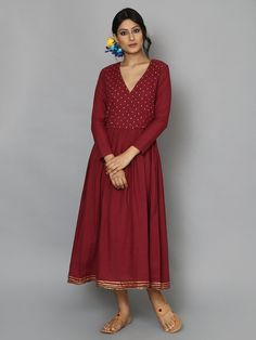 Maroon Cotton Mul Angrakha Dress
