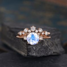 Rose gold engagement ring moonstone engagement ring set vintage Oval curved wedding band women bridal Jewelry Anniversary Valentines Gift Description: - Vintage style Moonstone and diamond ring - Natural Conflict free diamonds. Engagement Ring Rose Gold, Gold Diamond Wedding Band, Morganite Engagement, Engagement Ring Settings, Vintage Engagement Rings, Moonstone Engagement Rings, Rose Gold Moonstone Ring, Oval Engagement, Engagement Ideas