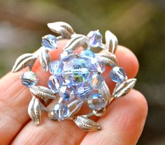 BLUE CRYSTALS BROOCH Vintage Blue ab Aurora Borealis Crystal  Brooch Pin Iridescent Multi faceted crystals clustered on silver leaves by StudioVintage on Etsy