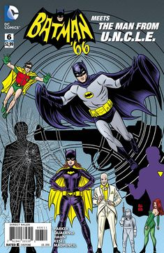 Trapped at the bottom of the sea, surrounded by the deadliest villains of Gotham City-all led by the most diabolical criminal mastermind of the age! How can Batman, Robin, Batgirl, Napoleon and Illya possibly survive the deepest deathtrap of all? Batman 1966, Batman Robin, Batman Comics, Dc Comics, Superman, Batgirl, Comic Book Covers, Comic Books, James Gordon