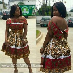 african print dresses Buy African Off-Shoulder Box-Pleated Dress at ! money back guarantee. Short African Dresses, Latest African Fashion Dresses, African Print Dresses, African Print Fashion, Africa Fashion, Ankara Fashion, Tribal Fashion, African Prints, African Fabric