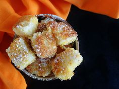 Axel's spanish teacher told him about fried milk so he begged me to find a recipe.  Street food of Spain: Fried Milk   Leche Frita {Recipe} - Nibbles and Feasts