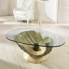 Ausgefallener Couchtisch glas couchtisch mit stein mediterran jetzt bestellen unter https