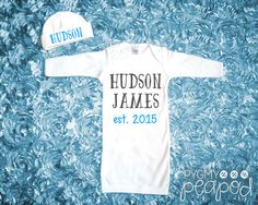 Items similar to Birth Announcement Custom Name Newborn Baby Gown & Hat Set - Baby Girl Coming Home Outfit - Shower Gift - Layette Gown - White with Glitter on Etsy Baby Name Announcement, Girls Coming Home Outfit, Baby Gown, Niece And Nephew, Baby Boy Newborn, Future Baby, Baby Bodysuit, Baby Boy Outfits, Baby Names