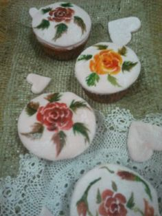 hand painted rustic rose cupcakes by julie shaw