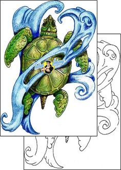 Turtle Tattoo reptiles-and-amphibians-reptile-tattoos-mr-pork-mwf-00086