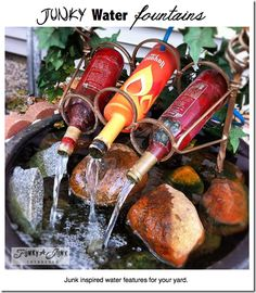 Such a brilliant idea!! If I used all of my empty bottles I could make a fountain larger than my home!!