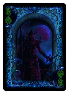 """Queen of Spades from """"Cthulhu:The Great Old One"""" R'lyeh Rising Edition Bicycle Playing Cards Deck from Dann Kriss Games; with art by Ian Daniels"""