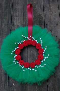 Tulle Wreath for Christmas by lakmep on Etsy, $25.00