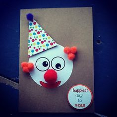 Handmade Clown Birthday Card