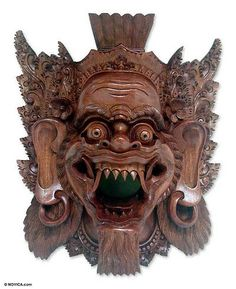 Wood mask, NOVICA. Barongsai demon