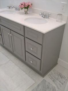 Painted gray vanity... great idea if a house comes with that awful light brown wooden cabinets. | Cute Quote