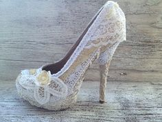 diy lace wedding shoes