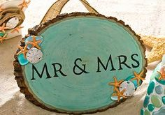 DIY Wood Mr. & Mrs. Wedding Sign for a Beach Wedding with Mod Podge Sheer color and Sea Shell Mod Melts