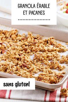 Pour donner du croquant à vos bols de smoothie et vos parfaits, essayez ce granola sans gluten aux parfums d'érable garni de pacanes et de noix de coco!