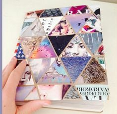 Use a triangle stencil to cut images out of a magazine and glue onto a piece of paper or cardstock. Clue that paper to the notebook cover for a super cute back to school notebook!
